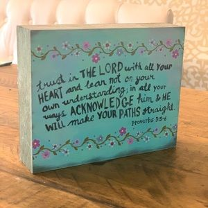 Natural Life wood block proverbs 3:5-6